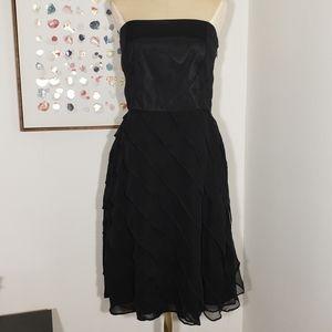 WHBM strapless black dress ruffle skirt size 6